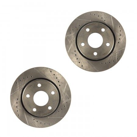 Brake Rotors, Front, Drilled Slotted; 07-18 Wrangler